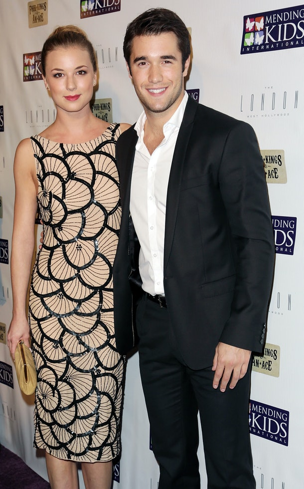 WEST HOLLYWOOD, CA - DECEMBER 01:  Actress Emily VanCamp and actor Joshua Bowman attend Mending Kids International celebrity poker tournament at The London Hotel on December 1, 2012 in West Hollywood, California.  (Photo by Brian To/WireImage)