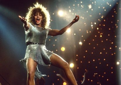 Tina Turner performs on stage at Ahoy, Rotterdam, Netherlands, 4th November 1990. (Photo by Rob Verh...