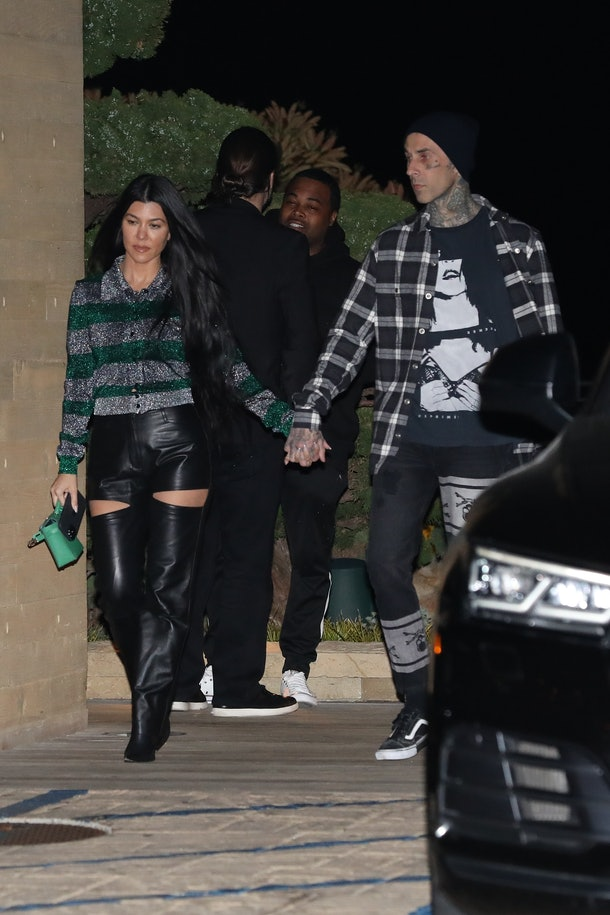 MALIBU, CA - MARCH 20: Kourtney Kardashian and Travis Barker are seen at Nobu restaurant on March 20, 2021 in Malibu, California. (Photo by Photographer Group/MEGA/GC Images)