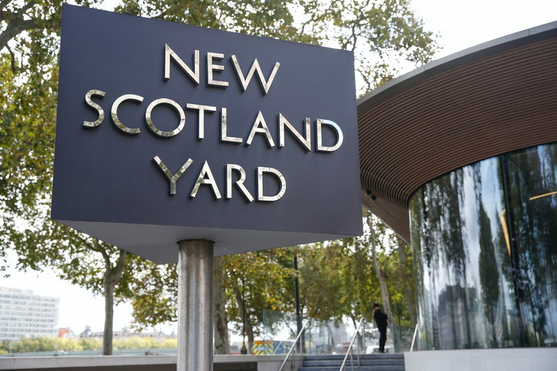 LONDON, ENGLAND - SEPTEMBER 25: A general view of Scotland Yard on September 25, 2020 in London, England. A murder investigation has been launched following the death of a police officer at the Croydon Custody Centre in south London. He was shot by a 23-year-old man who was also treated for a gunshot wound. The officer died later in hospital. The death will be investigated by the  Independent Office for Police Conduct. (Photo by Hollie Adams/Getty Images)
