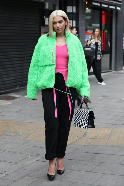 LONDON, ENGLAND - OCTOBER 29:  Dua Lipa seen leaving Capital Breakfast Radio Studios on October 29, ...