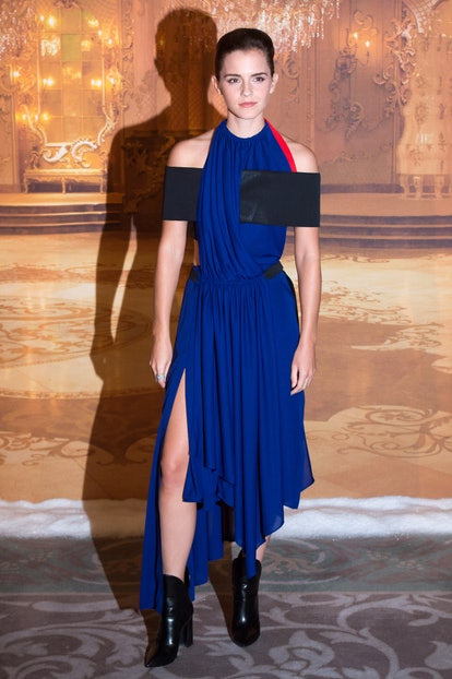 """PARIS, FRANCE - FEBRUARY 20:  Actress Emma Watson  attends the """"Beast And Beauty - La Belle Et La Bete"""" Paris Photocall at Hotel Meurice on February 20, 2017 in Paris, France.  (Photo by Stephane Cardinale - Corbis/Corbis via Getty Images)"""
