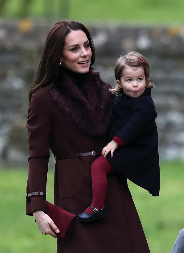 Princess Charlotte with her mother on Christmas Day, 2016.