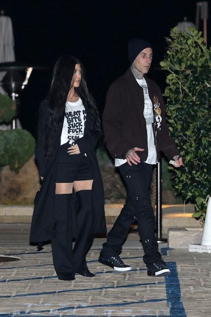 MALIBU, CA - MARCH 19: Kourtney Kardashian and Travis Barker are seen at Nobu on March 19, 2021 in M...
