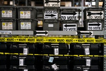ATLANTA, GEORGIA - On the day after election day in Georgia shelves and shelves of sequestered votin...