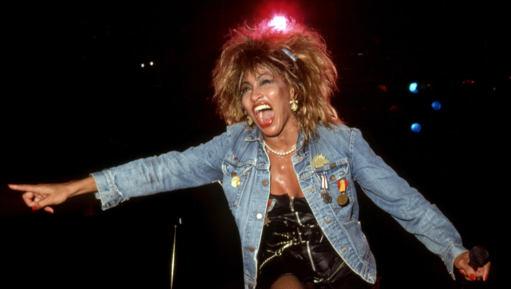 """DETROIT - AUGUST 28:  American-Swiss singer and actress, Tina Turner performs at the Joe Louis Arena during her """"Private Dancer Tour"""" on August 18, 1985, in Detroit, Michigan.  (Photo by Ross Marino/Getty Images)"""