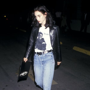 "HOLLYWOOD - AUGUST 7:   Actress Winona Ryder attends ""The Commitments"" Hollywood Premiere on August 7, 1991 at Pacific's Cinerama Dome in Hollywood, California. (Photo by Ron Galella, Ltd./Ron Galella Collection via Getty Images)"
