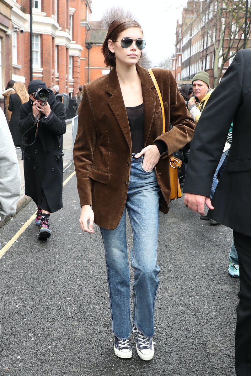 LONDON, ENGLAND - FEBRUARY 17: Kaia Gerber leaves JW Anderson at Yeomanry House during LFW February 2020 on February 17, 2020 in London, England. (Photo by Neil Mockford/GC Images)