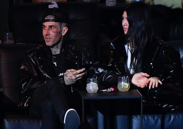 LAS VEGAS, NEVADA - MARCH 27: Travis Barker and Kourtney Kardashian are seen in attendance during th...