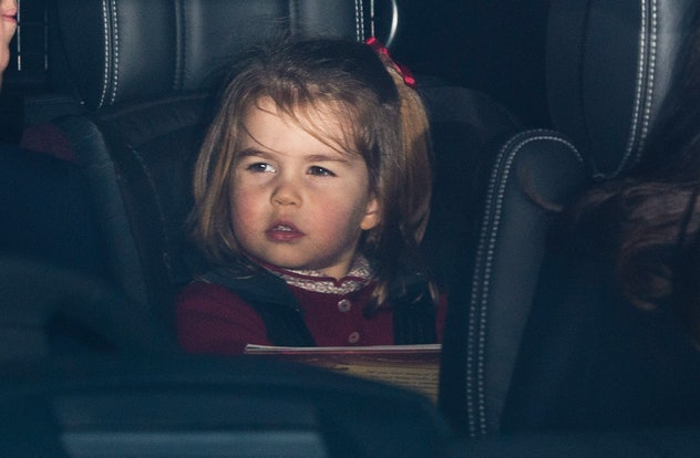 Princess Charlotte going to Christmas lunch in 2017.