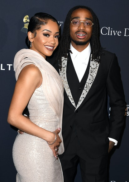 BEVERLY HILLS, CALIFORNIA - JANUARY 25: Saweetie and Quavo arrives at the Pre-GRAMMY Gala and GRAMMY...
