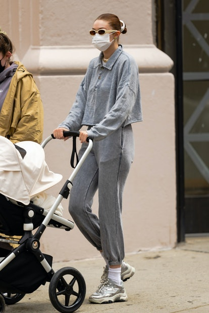 NEW YORK, NEW YORK - MARCH 31: Gigi Hadid is seen in Greenwich Village on March 31, 2021 in New York City. (Photo by Gotham/GC Images)