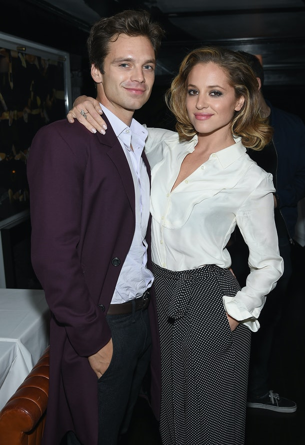"NEW YORK, NY - OCTOBER 08:  Sebastian Stan and Margarita Levieva  attend the after party for the premiere of ""Clouds Of Sils Maria"" hosted by Sundance Selects with W Magazine, Moncler and The Cinema Society at Omar's on October 8, 2014 in New York City.  (Photo by Dimitrios Kambouris/Getty Images)"