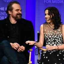HOLLYWOOD, CA - MARCH 25:David Harbour and Millie Bobby Brown speak onstage at The Paley Center For ...