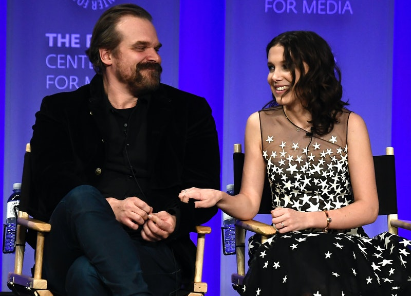 """HOLLYWOOD, CA - MARCH 25:David Harbour and Millie Bobby Brown speak onstage at The Paley Center For Media's 35th Annual PaleyFest Los Angeles - """"Stranger Things"""" at Dolby Theatre on March 25, 2018 in Hollywood, California.  (Photo by Frazer Harrison/Getty Images)"""
