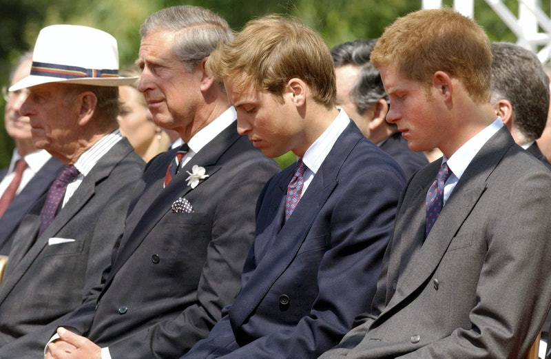 From left, the Duke of Edinburgh, the Prince of Wales, Prince William and Prince Harry at the opening 06 July, 2004,  of the unveiling of a fountain built in memory of Diana, Princess of Wales, in London's Hyde Park. The £3,6 million creation at the side of the Serpentine has been surrounded by controversy - facing delays and over-running its budget by £600,000. The Princess died in a car crash in Paris in August 1997./ WPA POOL. (Photo by FIONA HANSON / POOL / AFP) (Photo by FIONA HANSON/POOL/AFP via Getty Images)