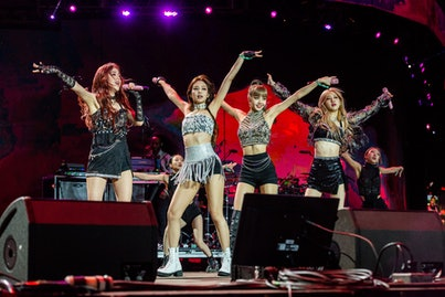INDIO, CALIFORNIA - APRIL 19: BLACKPINK performs during 2019 Coachella Valley Music And Arts Festival on April 19, 2019 in Indio, California. (Photo by Timothy Norris/Getty Images for Coachella)