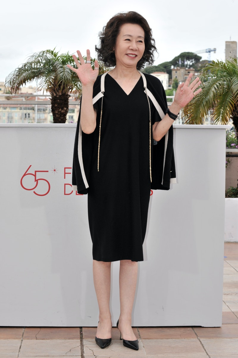 "Youn Yuh-jung at the photo call for ""Da-reun Na-ra-e-suh"" during the 65th Cannes International Film Festival. (Photo by Stephane Cardinale/Corbis via Getty Images)"