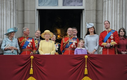 LONDON, ENGLAND - JUNE 16: Camilla, Duchess of Cornwall, Prince Charles, Prince of Wales, Prince Andrew, The Duke of York, Queen Elizabeth II, Prince Philip, Duke Of Edinburgh, Prince Harry, Duke of Sussex Princess Eugenie of York, Princess Beatrice of York Catherine, Duchess of Cambridge and Prince William, Duke of Cambridge attend the 2012 Trooping the Colour ceremony at the Horse Guards Parade to celebrate the Queen's birthday on June 16, 2012 in London, England. (Photo by Will/GC Images)