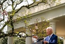WASHINGTON, DC  April 8, 2021:  President Joe Biden make remarks on gun violence prevention while Vi...