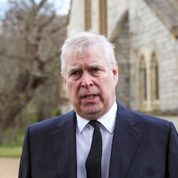 """Britain's Prince Andrew, Duke of York, speaks during a television interview outside the Royal Chapel of All Saints in Windsor on April 11, 2021, two days after the death of his father Britain's Prince Philip, Duke of Edinburgh. - Queen Elizabeth II has described feeling a """"huge void in her life"""" following the death of her husband Prince Philip, their son Prince Andrew said on April 11. Andrew, the couple's second son, said following family prayers at Windsor Castle that his mother was """"contemplating"""" her husband's passing after his death on April 9 aged 99. (Photo by Steve Parsons / POOL / AFP) (Photo by STEVE PARSONS/POOL/AFP via Getty Images)"""