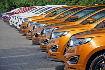 Warsaw, Poland - August 17th, 2016: Ford Edge vehicles parked in a row. The first geneneration of Edge was debut in 2006 on the market. The newest generation was debut in 2014. This model is the largest SUV from Ford on the European market and medium size SUV on the American market.