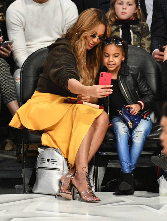 LOS ANGELES, CA - FEBRUARY 18:  Beyonce and Blue Ivy Carter attend The 67th NBA All-Star Game: Team LeBron Vs. Team Stephen at Staples Center on February 18, 2018 in Los Angeles, California.  (Photo by Allen Berezovsky/Getty Images)
