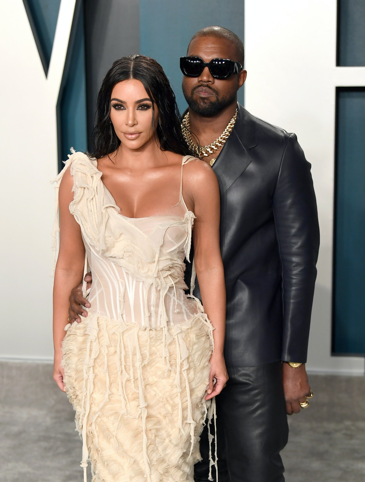 BEVERLY HILLS, CALIFORNIA - FEBRUARY 09: Kim Kardashian and Kanye West attend the 2020 Vanity Fair O...