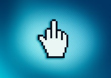 Close up of middle finger icon on computer screen