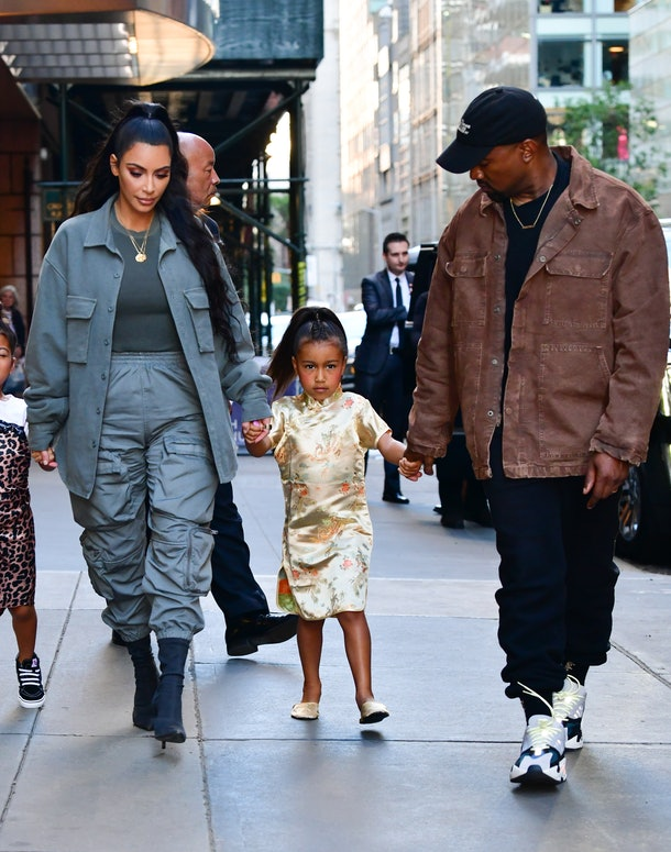 NEW YORK, NY - JUNE 15:  Kim Kardashian, North West and Kanye West arrive to The Polo Bar on June 15, 2018 in New York City.  (Photo by James Devaney/GC Images)