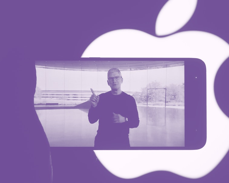 UKRAINE - 2020/10/13: In this photo illustration a screenshot of Apple's CEO Tim Cook from Apple's launch promotional material of the the new iPhone12 seen displayed on a smartphone screen with the apple logo in the background. (Photo Illustration by Pavlo Gonchar/SOPA Images/LightRocket via Getty Images)