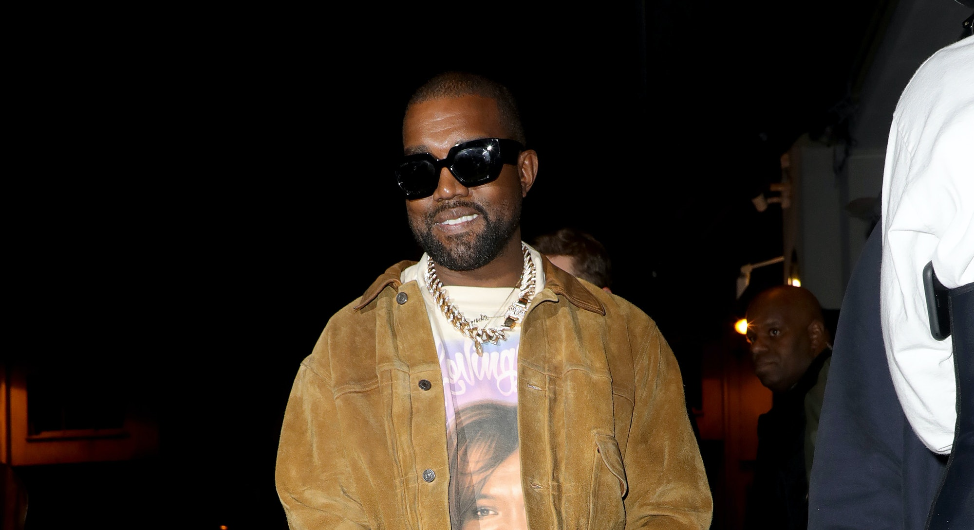 PARIS, FRANCE - MARCH 02: Kanye West is seen leaving a restaurant after his show on March 02, 2020 in Paris, France. (Photo by Pierre Suu/GC Images)