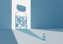 Digital generated image of COVID-19 vaccine bottle dropping shadow to wall and in transparency there...