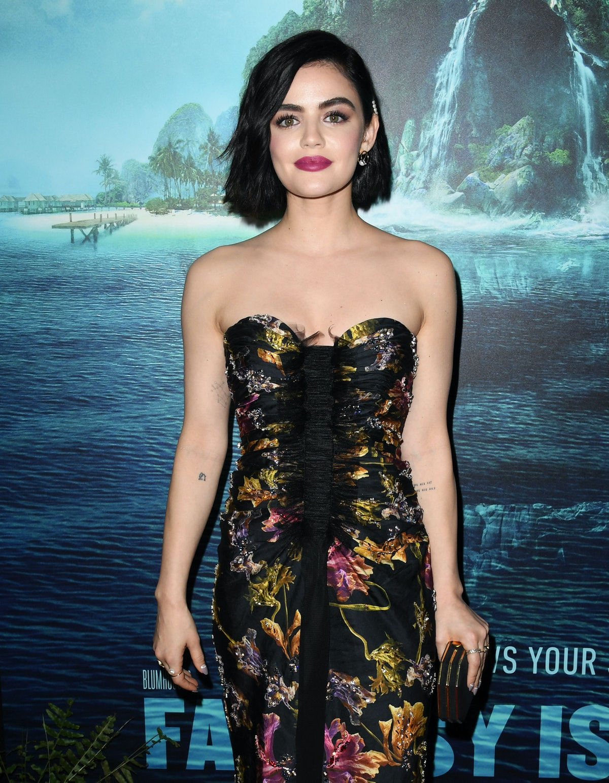 """CENTURY CITY, CALIFORNIA - FEBRUARY 11:  Lucy Hale attends the premiere of Columbia Pictures' """"Blumh..."""