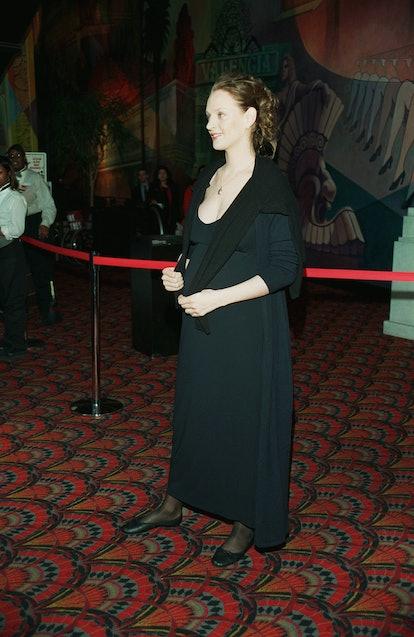 (Original Caption) Uma Thurman, pregnant, arrives. (Photo by Steve Azzara/Corbis via Getty Images)