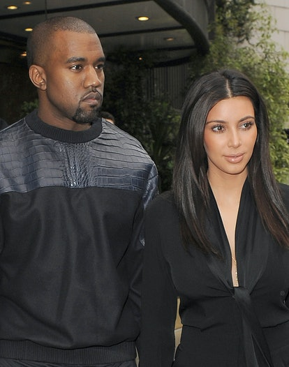 LONDON, ENGLAND - MAY 22: Kim Kardashian and her boyfriend Kanye West leave their hotel on May 22, 2012 in London, England. (Photo by Will/GC Images)