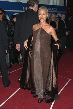 (Original Caption) Jada Pinkett, who is pregnant arrives at the Radio City Music Hall. (Photo by Steve Azzara/Corbis via Getty Images)