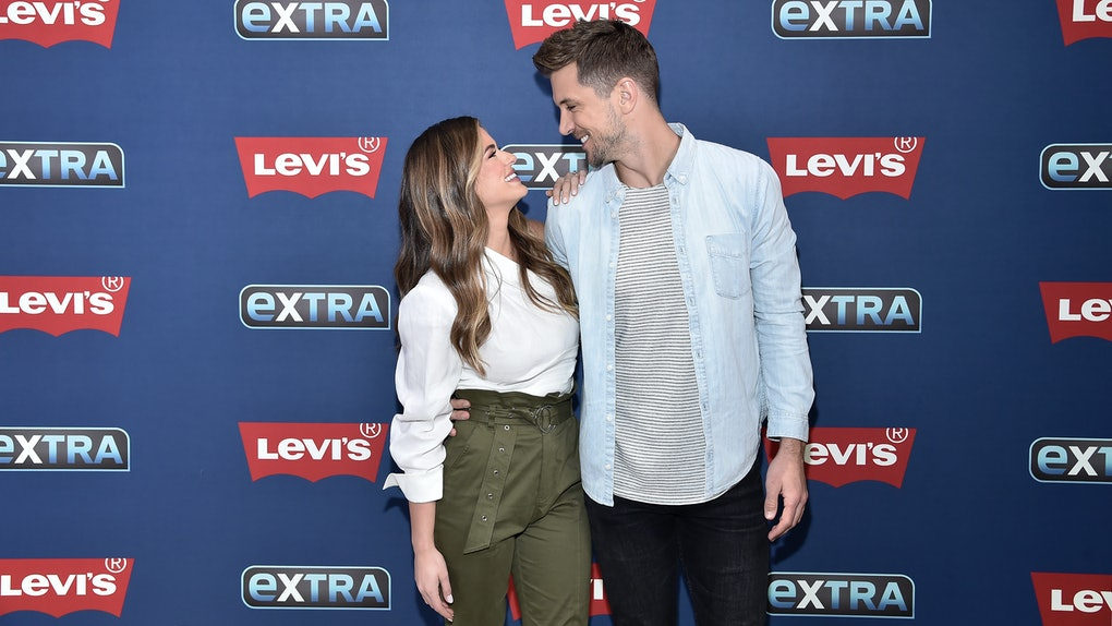 "NEW YORK, NEW YORK - OCTOBER 30: (EXCLUSIVE COVERAGE) JoJo Fletcher and Jordan Rodgers visit ""Extra"" filmed live at the Levi's Store Times Square on October 30, 2019 in New York City. (Photo by Steven Ferdman/Getty Images)"