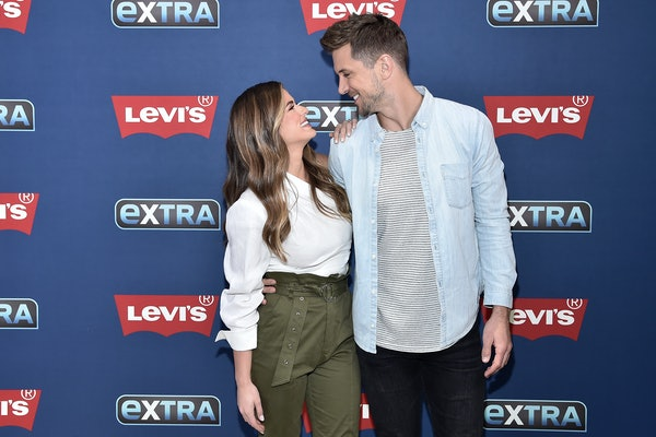 """NEW YORK, NEW YORK - OCTOBER 30: (EXCLUSIVE COVERAGE) JoJo Fletcher and Jordan Rodgers visit """"Extra"""" filmed live at the Levi's Store Times Square on October 30, 2019 in New York City. (Photo by Steven Ferdman/Getty Images)"""