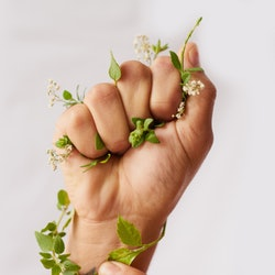 Cropped shot of an woman's hand clenching flowers in a fist. Doctors explain what it means if you have pins and needles post-covid vaccine.