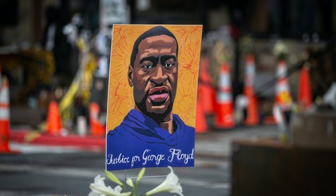 MINNEAPOLIS, MN - APRIL 08: Images of George Floyd are place all around the area surrounding Cup Foods where Floyd died on Thursday, April 8, 2021 in Minneapolis, MN. (Jason Armond / Los Angeles Times via Getty Images)