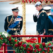 LONDON, UNITED KINGDOM - JUNE 03: (EMBARGOED FOR PUBLICATION IN UK NEWSPAPERS UNTIL 24 HOURS AFTER CREATE DATE AND TIME) Prince Philip, Duke of Edinburgh and Prince Harry onboard the Royal Barge 'Spirit of Chartwell' during the Diamond Jubilee Thames River Pageant on June 3, 2012 in London, England. For only the second time in its history the UK celebrates the Diamond Jubilee of a monarch. Her Majesty Queen Elizabeth II celebrates the 60th anniversary of her ascension to the throne. Thousands of well-wishers from around the world have flocked to London to witness the spectacle of the weekend's celebrations. The Queen along with all members of the royal family will participate in a River Pageant with a flotilla of a 1,000 boats accompanying them down the Thames. (Photo by Max Mumby/Indigo/Getty Images)