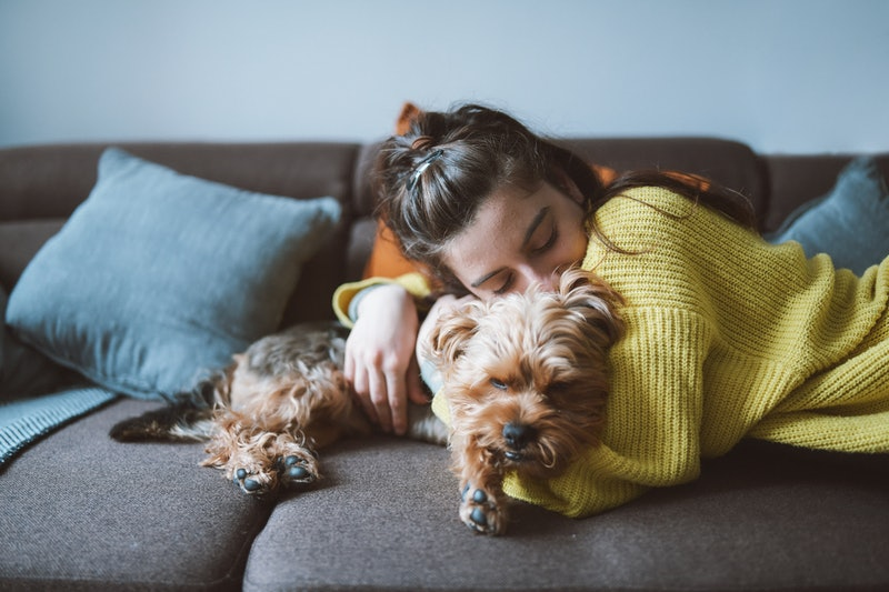 A shot of a young woman hugging lovely her little dog while lying down on the sofa in her living room.