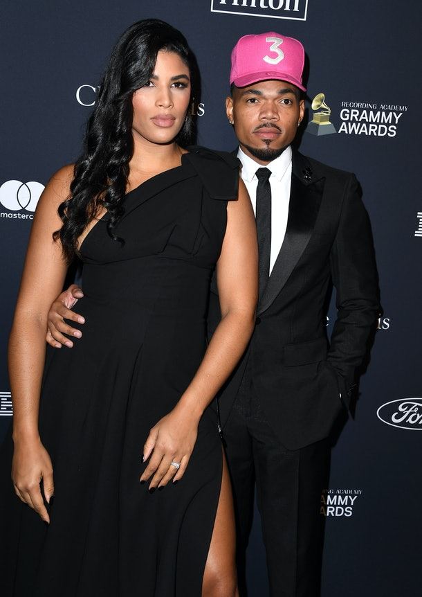 """BEVERLY HILLS, CALIFORNIA - JANUARY 25: Kirsten Corley and Chance the Rapper arrives at the Pre-GRAMMY Gala and GRAMMY Salute to Industry Icons Honoring Sean """"Diddy"""" Combs at The Beverly Hilton Hotel on January 25, 2020 in Beverly Hills, California. (Photo by Steve Granitz/WireImage)"""