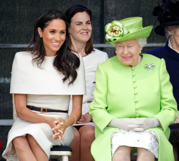 WIDNES, UNITED KINGDOM - JUNE 14: (EMBARGOED FOR PUBLICATION IN UK NEWSPAPERS UNTIL 24 HOURS AFTER CREATE DATE AND TIME) Meghan, Duchess of Sussex and Queen Elizabeth II (accompanied by Samantha Cohen (c), Private Secretary to Prince Harry, Duke of Sussex and Meghan, Duchess of Sussex, and former Assistant Private Secretary to The Queen) attend a ceremony to open the new Mersey Gateway Bridge on June 14, 2018 in Widnes, England. Meghan Markle married Prince Harry last month to become The Duchess of Sussex and this is her first engagement with the Queen. During the visit the pair will open a road bridge in Widnes and visit The Storyhouse and Town Hall in Chester. (Photo by Max Mumby/Indigo/Getty Images)