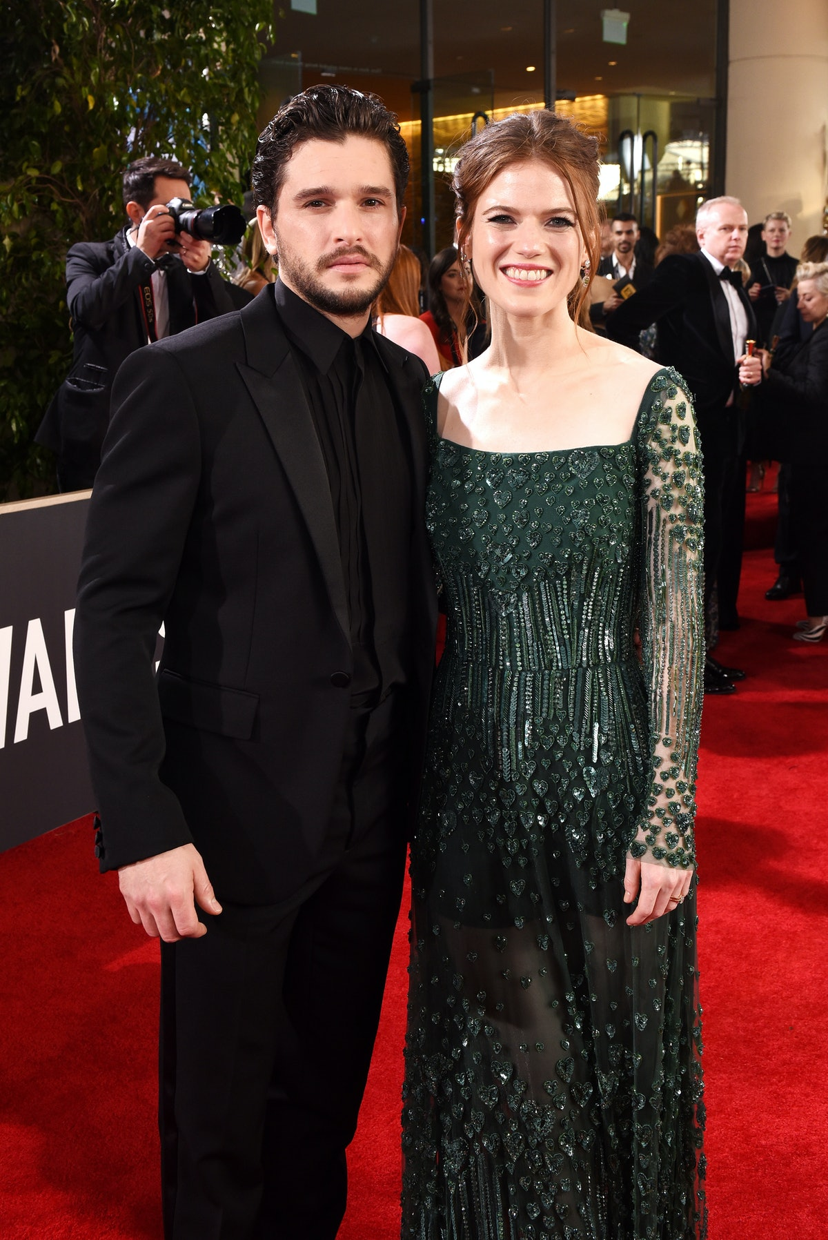 BEVERLY HILLS, CALIFORNIA - JANUARY 05: Kit Harington and Rose Leslie attend the 77th Annual Golden ...