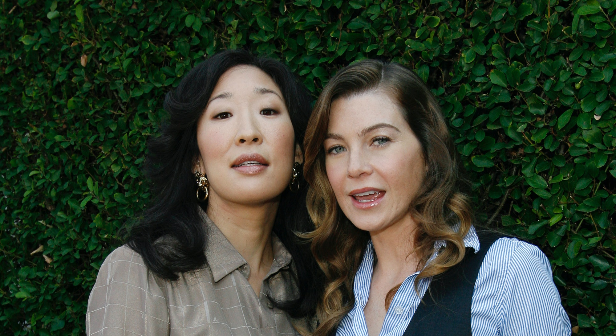 Sandra Oh and Ellen Pompeo during The Rape Treatment Center Annual Brunch Hosted by the Cast of Grey's Anatomy at Private Residence in Beverly Hiils, California, United States. (Photo by Donato Sardella/WireImage)