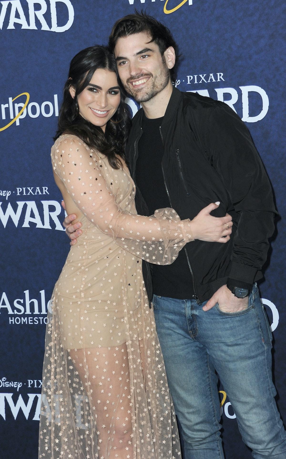 HOLLYWOOD, CA - FEBRUARY 18:  Ashley Iaconetti and Jared Haibon arrive for Premiere Of Disney And Pi...