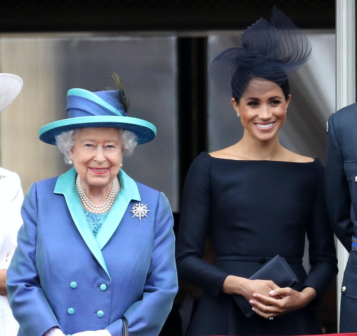 LONDON, ENGLAND - JULY 10: Queen Elizabeth II and Meghan, Duchess of Sussex on the balcony of Buckin...