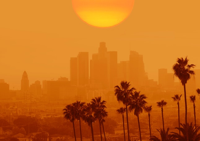 USA, California, Los Angeles , 04/04/2017  composite image alll logos and names on buildings have been removed. hazy air level, polluted smoky air.